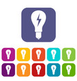 light bulb with lightning inside icons set flat vector image vector image