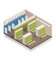 locker dressing room isometric composition vector image