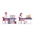 male and female scientist working at desk vector image vector image