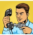 Man aim gun to handset pop art vector image