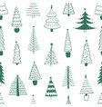 new year trees hand drawn seamless pattern vector image vector image