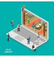 online library flat isometric concept vector image