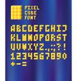 Pixel cube font vector image