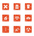 pollution icons set grunge style vector image vector image