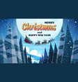 santa claus flying in sledge with reindeers night vector image