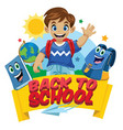 school kid cartoon set vector image