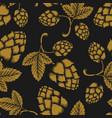seamless pattern with vintage beer hop design vector image vector image
