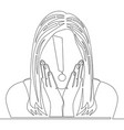 single line shocked woman with exclamation mark vector image vector image