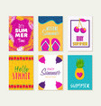 summer greeting card design set of vacation season vector image vector image