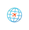 travel icon globe with plane icon isolated on vector image vector image