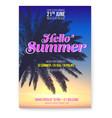 tropical beach party flyer hello summer beach vector image vector image