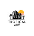 tropical hotel logo concept with sun and palm tree
