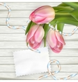 Tulip flowers on wood background EPS 10 vector image vector image
