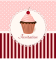Vintage invitation card with cherry cream cake vector image vector image