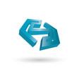 polygon letter s 3d logo vector image