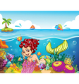 A smiling mermaid under the sea vector image vector image
