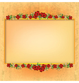 abstract yellow grunge background with red floral vector image