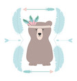 bear grizzly with feathers hat and arrows frame vector image vector image