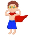 Boy cartoon pretending to be a Super Hero vector image vector image