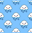 cartoon seamless pattern cloud rainy cute kawaii vector image vector image