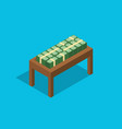 cash stack money on top of wooden table flat style vector image vector image