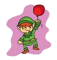 Christmas elf helper with balloon vector image vector image