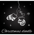 Christmas mittens in doodle style vector image vector image