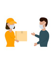 delivery woman gives a box to man in face masks vector image