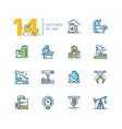 factories - colorful thin line design icons set vector image