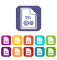 file dll icons set vector image vector image
