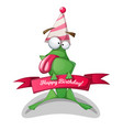 funny cute frog characters birthday vector image
