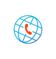 globe and phone icon global client support call vector image vector image