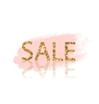 Golden Sale lettering Pastel pink watercolor vector image vector image
