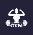 gym logo with strong girl and barbell vector image vector image