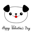 happy valentines day dog head face linear vector image