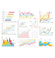 infographic charts elements - bar and line charts vector image vector image