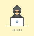 line art icon of a computer hacker vector image vector image