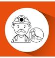 Mine worker pickaxe icon design