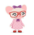 mouse girl cub cute animal mascot cartoon icon vector image