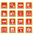 multimedia internet icons set red square vector image vector image