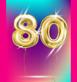 number eighty gold foil balloon on gradient vector image vector image
