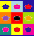 pan sign pop-art style colorful icons set vector image