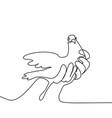 pigeon in hands logo vector image vector image