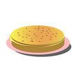 pile of thin russian pancakes on pink plate vector image vector image