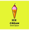 Pink ice cream in a cone vector image vector image