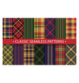 plaid pattern seamless ornate set classic vector image vector image