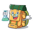 professor backpack character cartoon style vector image