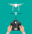 remote controlled aerial drone vector image