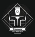 restaurant and food emblem in black and white vector image