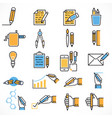 set flat line icons pencil concept vector image